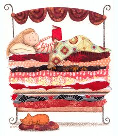 The reading princesses pass from the pea, but they reveal themselves reading (illustration by Lil Kim) I Love Books, Books To Read, My Books, Crazy Cat Lady, Princess And The Pea, Reading Art, Reading Club, Book Nooks, Children's Book Illustration