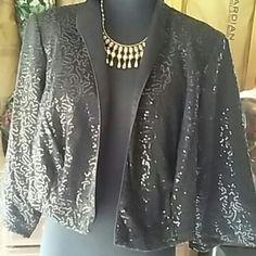 Black Sequin Swag Sequin Swag Blazer from Dressbarn Women Collection Dress Barn Jackets & Coats