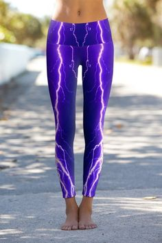 Violet Lightning - Printed Performance Leggings from Om Shanti Clothing @ Maitri Yoga Store Moda Fitness, Workout Attire, Workout Wear, Workout Outfits, Workout Tanks, Yoga Wear, Gym Wear, Yoga Outfits, Sport Outfits