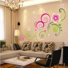 Tree Wall Decals Heart Shaped Flower Vine Wall Sticker Decor Paper Decals Removable Art Kids Children & Floral Wall Decals Amazon - amazon.com: dnven (43