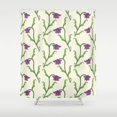 Purple Flower Pattern Shower Curtain by pixaroma Laptop Skin, Purple Flowers, Flower Patterns, Iphone Cases, Curtains, Mugs, Pillows, Shirts, Design