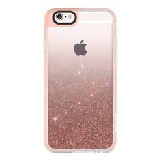 iPhone 6 Plus/6/5/5s/5c Case - Girly Pink Faux Rose Gold Glitter... (€35) ❤ liked on Polyvore featuring accessories, tech accessories, iphone case, iphone hard case, transparent iphone case, apple iphone cases and glitter iphone case
