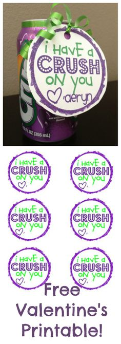 I Have a CRUSH on You- Free Kids  Printable #Valentine                                                                                                                                                                                 More