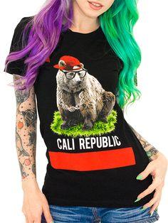 "Women's ""Cali Republic"" Tee by Goodie Two Sleeves (Black) #InkedShop #california #CA #graphictee #womenswear"