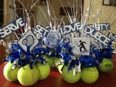 Tennis centerpieces up cycle