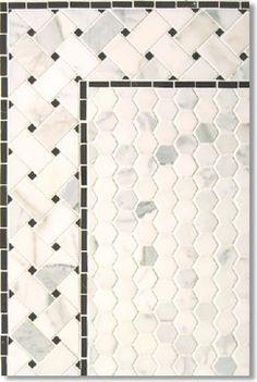 Calacatta Hexagon with Basketweave Border - contemporary - bathroom tile - other metro - Calacatta Marble & Mosaic