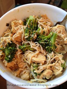 Lean & Green: Crockpot Thai PB Chicken with Broccoli.  I made this without the tofu noodles and broccoli. I added more onions, chili garlic sauce, and red pepper flakes.