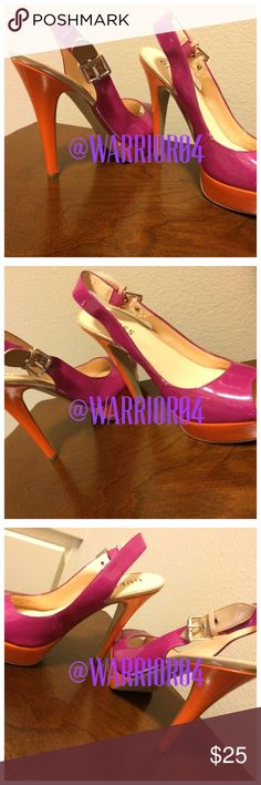 Guess 2 toned orange & fuchsia Heels Guess 2 toned orange & fuchsia Heels small scape on inside of left shoe and small scrape on front of left shoe by toe area price reflects this Guess Shoes Heels