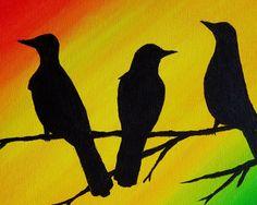 Three Little Birds Bob Marley Original Painting by Paintspiration
