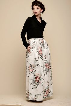 Floral maxi skirt Skirt with pockets Long skirt by Julbyjuliagasin, $99.00