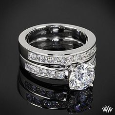 a8b18a8f6844 Cathedral Channel-Set Diamond Engagement Ring and Wedding Ring   princessweddingrings Anillos De Oro Blanco