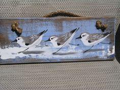 Sanderlings art - beach house - wood - sandpiper - shoreline - beach painting on wood - beach birds - running Beach Canvas Art, Beach Art, Art Plage, Tiki Bar Signs, Am Meer, Beach Crafts, Beach Themes, Bird Art, Coastal Decor