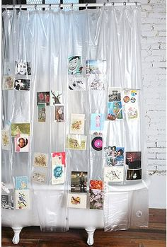 I've purchase this shower curtain several times throughout my life. Whenever I've moved and have an extra bathroom that requires a curtain I get really excited to use this one because I get to put postcards that my friends have sent me from around the world, mailings I get from my favorite exhibits and other mementos. I love it!
