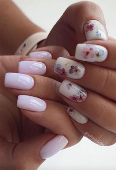 Stylish Nails, Trendy Nails, Cute Acrylic Nails, Cute Nails, Water Color Nails, Flower Nail Designs, Nails With Flower Design, Manicure E Pedicure, White Pedicure