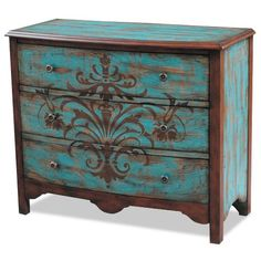 597121CHESTTEAL Teal & Brown 3-Drawer Chest