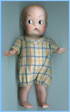 My FAVORITE - a small Antique Googly-eyed bisque boy doll