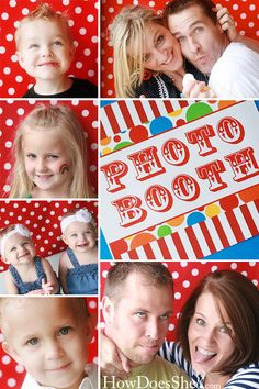 """Photo Booth for Carnival Birthday Party ~ AWESOME !!!  I am a photo bug & photographer on the side, so this is RIGHT UP """"my alley"""" - sooooo much fun, can't WAIT to do this at the kids party this year!!!  :o)~"""