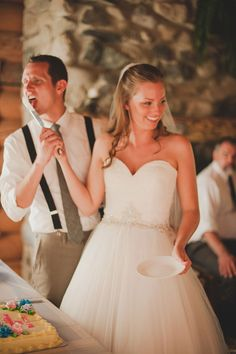 Mariella and Kyle's reception in the dining room of their log cabin. Photography by Adrien Craven. Read more here... @intimateweddings.com #receptions #reaklweddings