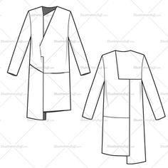 Asymmetricalwrap coat with colorblock detail paneling. Fashion sketch includes both back and front of body.