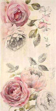 Vintage wallpaper with pink roses
