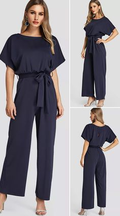 Navy High-Waisted Wide Leg Jumpsuit with Belt Autumn Fashion, Spring Fashion, Style Fashion, Fashion 2020, Jumpsuit Outfit, Jumpsuit With Sleeves, Pinterest Fashion, Women's Fashion Dresses, Beauty Shop