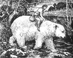 East of the Sun, West of the Moon Henry Justice Ford from The Blue Fairy Book by Andrew Lang Public Domain Clip Art, White Art, Black And White, East Of The Sun, Snow Maiden, Blue Fairy, Children's Book Illustration, Animal Illustrations, Moon Art