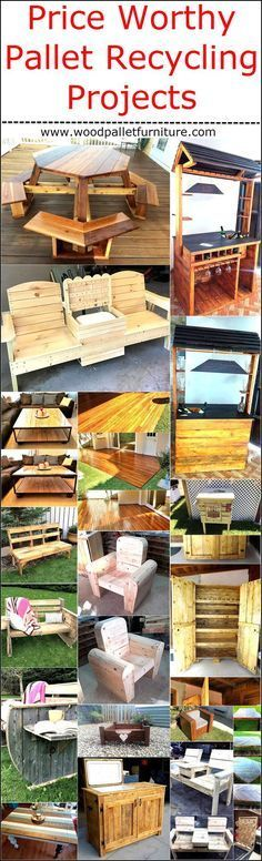 Not only the wooden pallets are great because they can be reshaped into unlimited ideas to decorate the home, but due to the reason that all the projects made up of wood pallets are price worthy and are inexpensive. In some cases, the wooden pallets are Wooden Pallet Crafts, Wooden Pallet Furniture, Diy Pallet Projects, Wooden Pallets, Furniture Projects, Recycling Projects, Pallet Ideas, Pallet Wood, 1001 Palettes