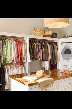 add a door (or a walkway?) behind the shirts leading directly to the master closet?...Laundry room/closet
