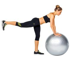 STEP 6   KICK ASS TONER   Stand facing ball with palms on top of it, arms extended, and raise right leg behind you (as shown). Draw right knee toward ball and hold for 1 count. Return to start for 1 rep. Do 12 reps; switch legs.