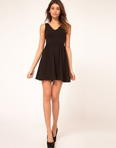 love the scalloped neckline of this Asos dress
