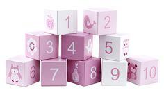 Holz Bauklötze mit Zahlen & Motiven rosa/weiß 10er Set