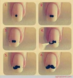 How to make moustache nail art