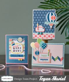 Birthday Card Trio by Tegan Skwiat It's A Celebration cards #cartabellapaper