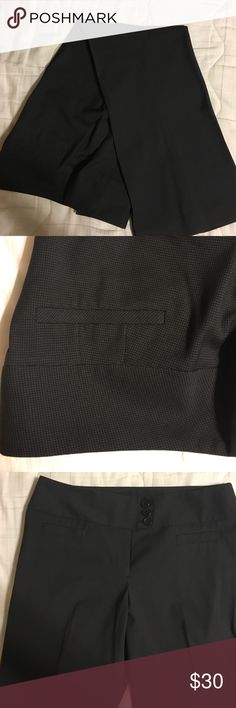 EUC black Ann Taylor pants with windowpane detail EUC. See pictures for pattern. Wide 3-button waistband is very flattering! Ann Taylor Pants Trousers