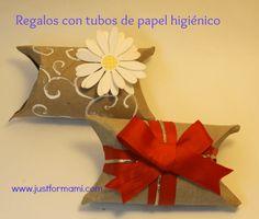 Empaques de Regalos con tubos de papel higiénico. Una forma original de regalar efectivo y joyería al mismo tiempo que reciclas los tubitos de papel toilet.