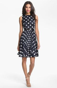 adrianna papell - burnout polka dots dress