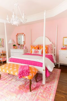 Neutral Home Decor Pink and Orange Big Girl Room Reveal with details for recreating the Kids Room look in vibrant pink and orange, preppy, Palm Beach style! Hot Pink Bedrooms, Pink Bedroom For Girls, Big Girl Bedrooms, Pink Room, Little Girl Rooms, Modern Girls Rooms, Colorful Girls Room, Preppy Bedroom, Black Bedroom Decor