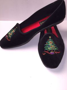 efd2e3d466 Basic Editions Christmas Holiday Tree Shoes Black Velvet Ladies Size 7.5   HolidayEditions  Flats