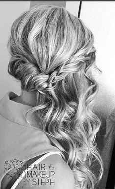 Boho look, one side curls with side plait