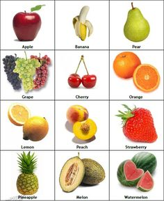 Easy learning : Fruit names with pictures. Fruits Images With Name, Fruits Name With Picture, Fruit Picture, Kids English, English Lessons, Fruits Name In English, Fruit Names, Vegetable Pictures, Autism Learning