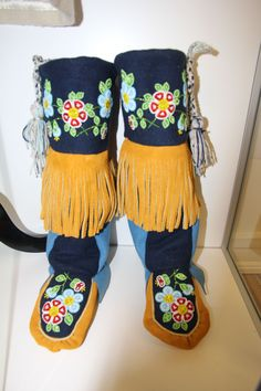 Beaded boots on display at the Historic Saugeen Métis Interpretive Learning Centre in Southampton, Ontario.