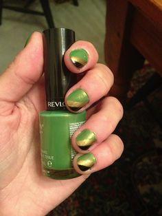 My Loki inspired nails using Revlon's Bonsai Color stay nail polish and gold and black sharpies.