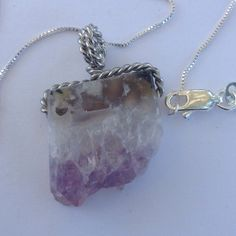 Natural Amethyst Geode Necklace Natural amethyst geode cluster Madagascar agate with a 18K WGP bail on a Sterling silver chain. New! Jewelry Necklaces