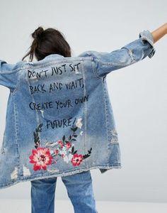 Bershka Create Your Own Future Longline Denim Jacket