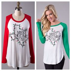 """Merry Christmas Y'all"" Baseball T LONG SLEEVE RAGLAN TEXAS LIGHTS ""MERRY CHRISTMAS Y'ALL"" TOP 96% RAYON 4% SPANDEX MADE IN USA.   SUPER COMFY!  S(2-4) M(6-8) L(10-12) XL(12-14).  Available in RED ONLY!! TK1078233 2 a T Boutique  Tops Tunics"