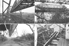 The Bennie monorail structure in the 1950's (in abandoned condition)