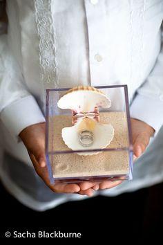 Sand and shell ring bearer box! Sacha Blackburne Photography: Marina & Jhan - Bermuda Wedding - The Reefs