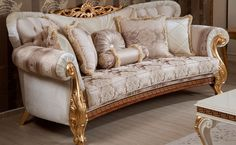 Homey Design Luxury Upholstery Champagne Living Room Sofa Loveseat Chair and Coffee Table Carved Wood Set Buy online! Furniture, Classic Sofa Sets, Classic Sofa Styles, Traditional Sofa, Sofa Design, Sofa Set, Champagne Living Room, Elegant Sofa, Living Room Upholstery