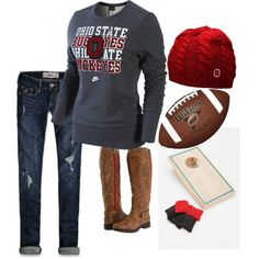 "For you Brans...you know I wouldn't be caught dead in this...go maize and blue! ohio state"" by rkracker on Polyvore"
