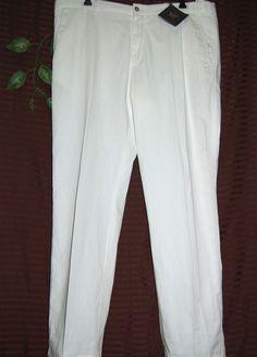 Paul & Shark Men Off White Italian Soft Cotton Dress Pants Size US 40 NEW #PaulShark #DressFlatFront